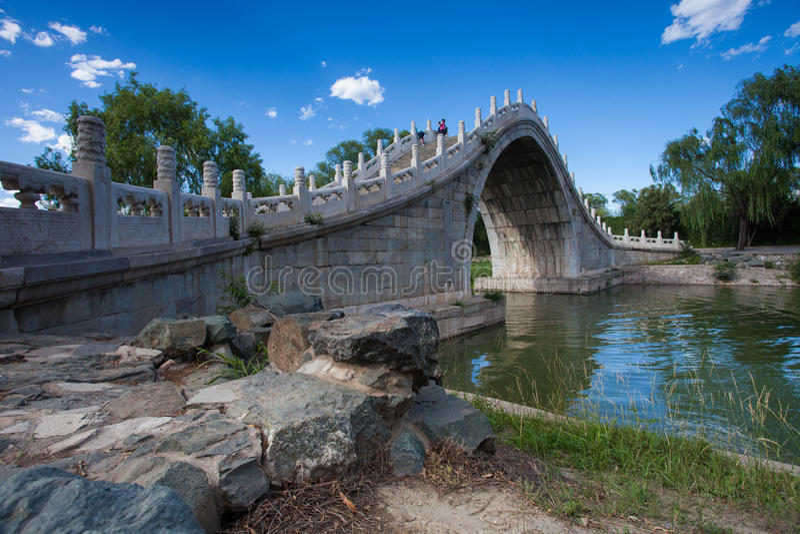 Sommer-Palast, Steinbogenbrücke lizenzfreie stockfotografie