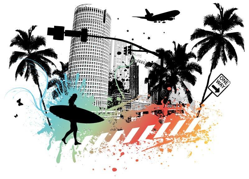 Sommer-Palmen-Stadt lizenzfreie abbildung