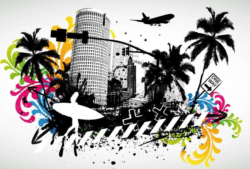 Sommer-Palmen-Stadt stock abbildung