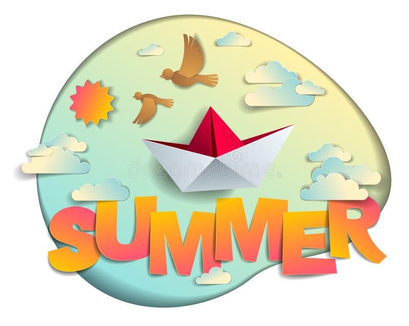 Sommer papercut Wort mit Origami faltete Spielzeugschiffsv?gel Sonne und des Artkarikaturpapierschnittes 3d des Wolkenvektors mod lizenzfreie abbildung