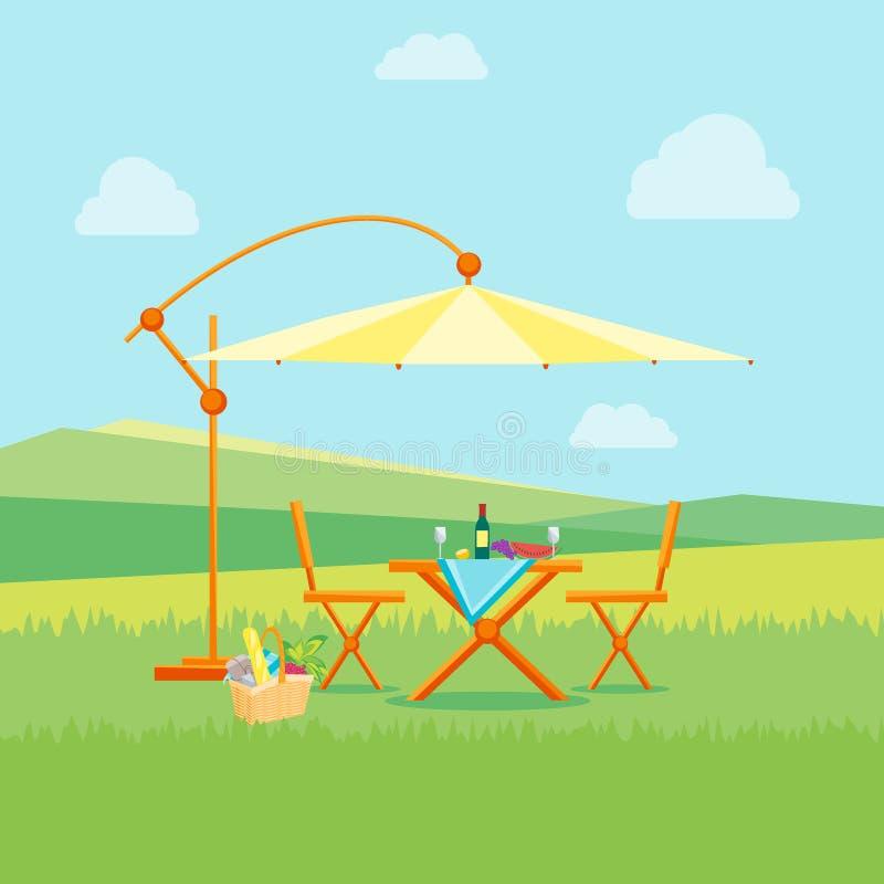 Sommer-Picknick in der Natur flach Vektor vektor abbildung