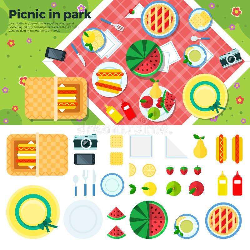 Sommer-Picknick in der Park-Fahne und den Ikonen stock abbildung