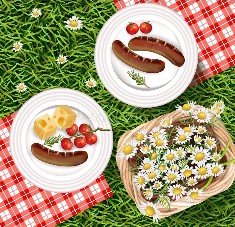 Sommer-Picknick-draußen realistischer Vektor Gegrillte Würste auf weißer Platte mit gigham Muster Kamillenkorb und -GRÜN stock abbildung