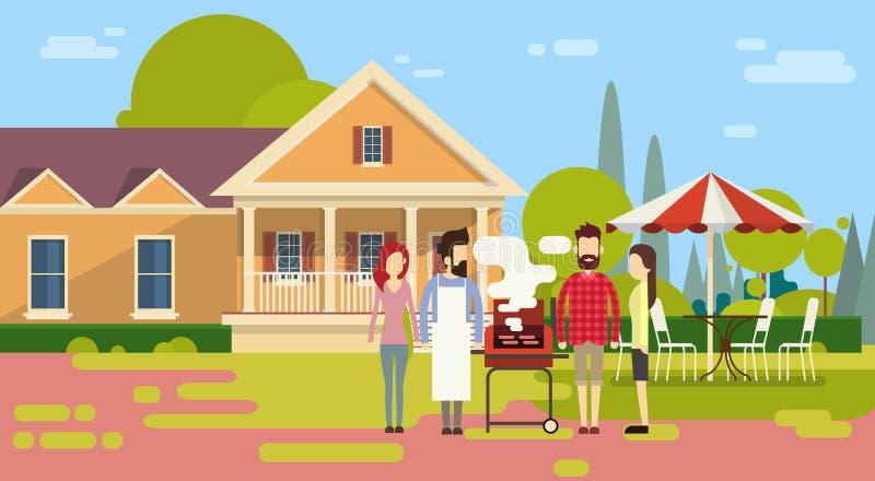 Sommer-Picknick-Freund-Gruppe draußen bringen Grill-Grill-Partei unter stock abbildung