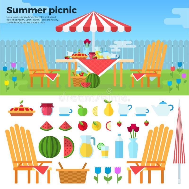 Sommer-Picknick und Ikonen von Nahrungsmitteln lizenzfreie abbildung