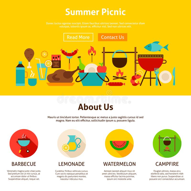Sommer-Picknick-Webdesign lizenzfreie abbildung