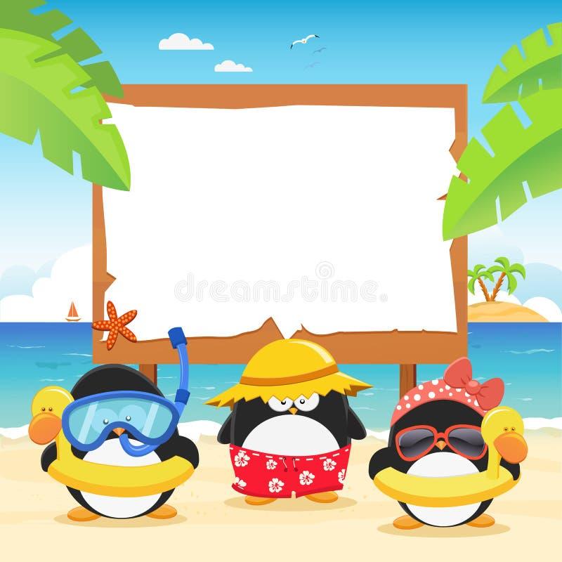 Sommer-Pinguine mit Anschlagtafel lizenzfreie abbildung