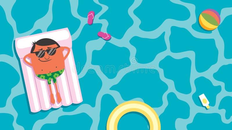 Sommer-Pool-Mann lizenzfreie abbildung