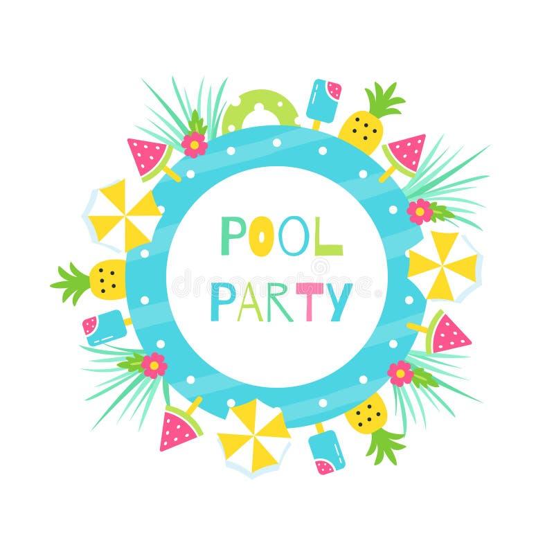Sommer-Pool oder Strand-tropische Thema-Partei Vektor-Plakat-oder Einladungs-Karten-Entwurf lizenzfreie abbildung