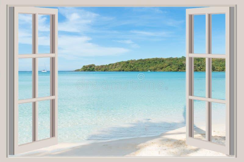 Sommer-, Reise-, Ferien- und Feiertagskonzept - das offene Fenster, stockfotografie