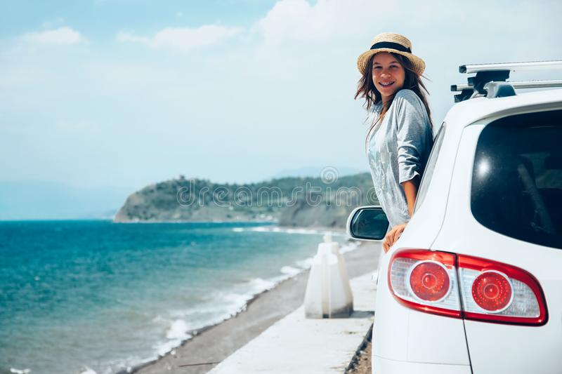 Sommer roadtrip zum Strand stockbilder