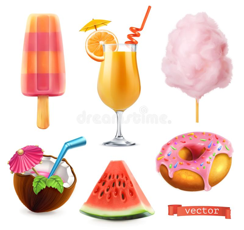 Sommer, süßes Lebensmittel Eiscreme, Orangensaft, Zuckerwatte, Cocktail, Wassermelone und Donut Ikonensatz des Vektors 3d vektor abbildung