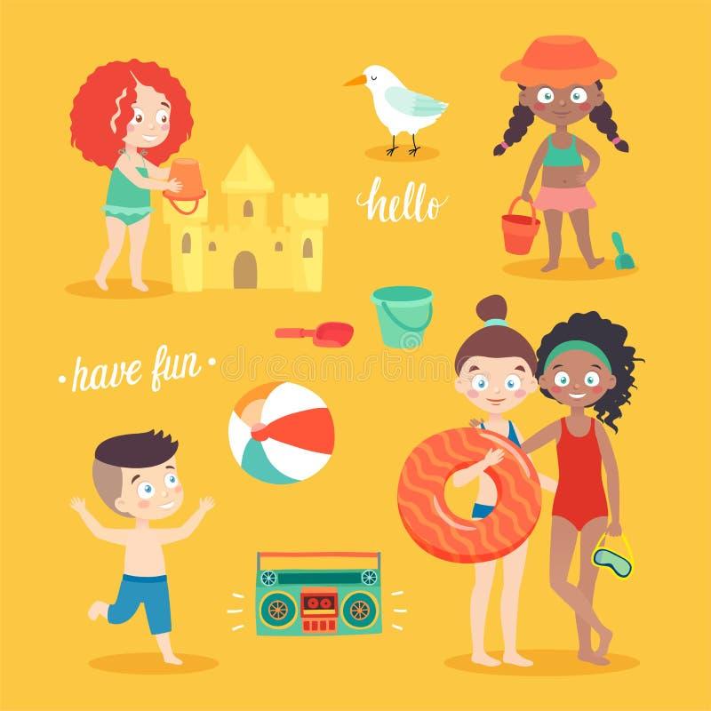 Sommer scherzt Kartensatz, Schwimmen, spielt auf dem Strand, kampiert und hat Spaß vektor abbildung
