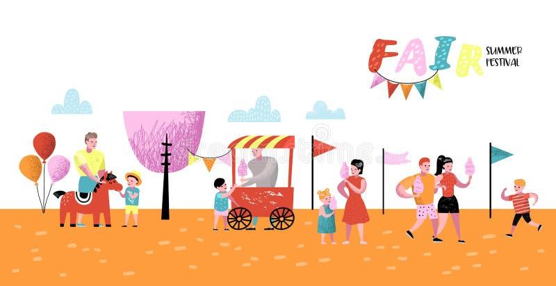 Sommer-Spaß-Messe-Plakat, Fahne, Broschüre Vergnügungspark-Charaktere mit Karikatur-Leuten Familie scherzt Ferien vektor abbildung