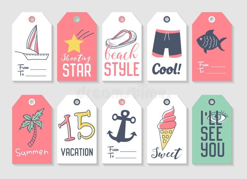 Sommer-Strand-Ferien etikettieren Sammlung mit Hand gezeichneten Elementen Palme, Eiscreme und Fischen stock abbildung