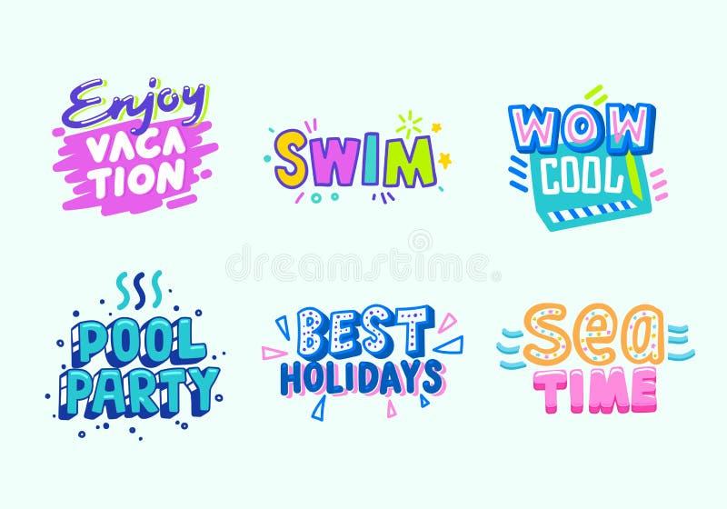 Sommer-Strand-Ferien-tropischer Fahnen-Entwurfs-Satz Paradise-Pool-Party-Typografie-Plakat-Schablone Vermarkten, Ausweis annoncie vektor abbildung