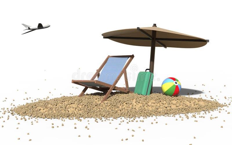 Sommer-Strand Ferien und Deckchair stockfotos