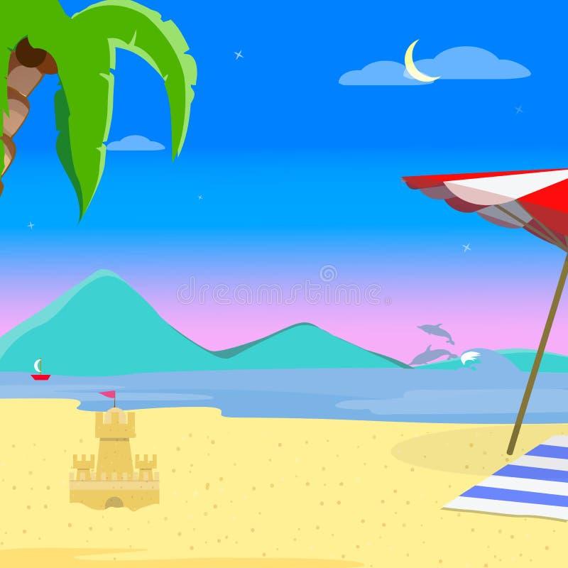 Sommer-Strand-Hintergrund, Zeit-Landschaft glättend stock abbildung