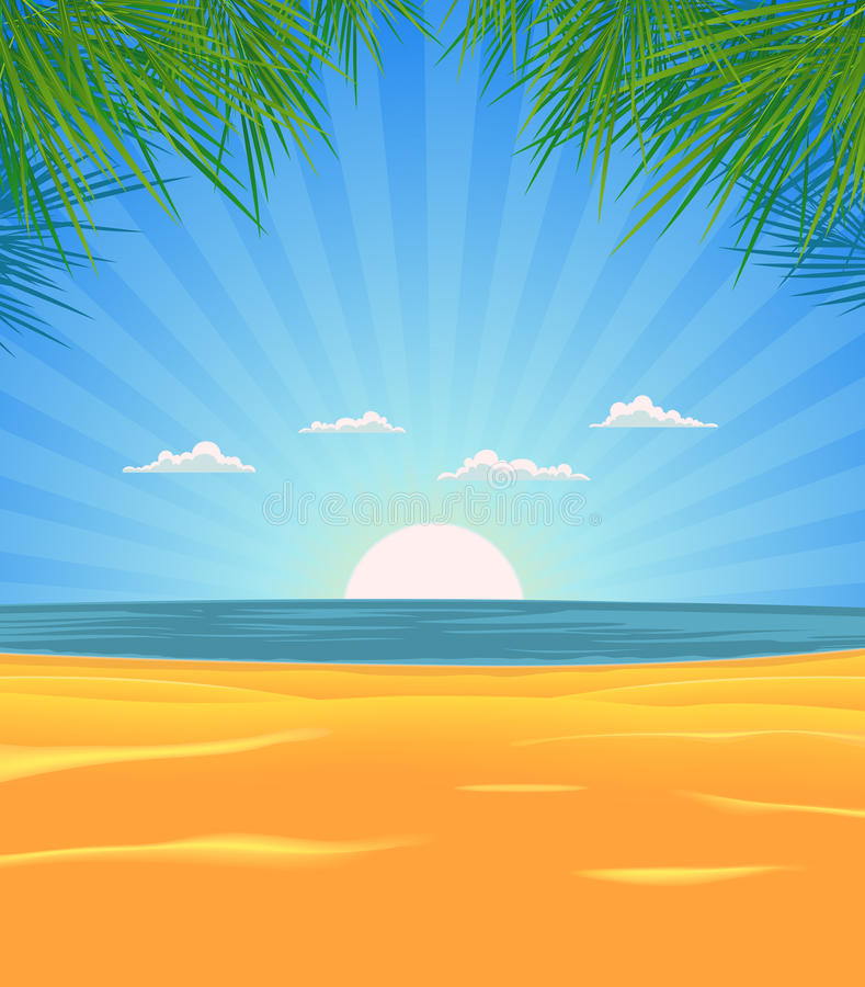 Sommer-Strand-Landschaft lizenzfreie abbildung