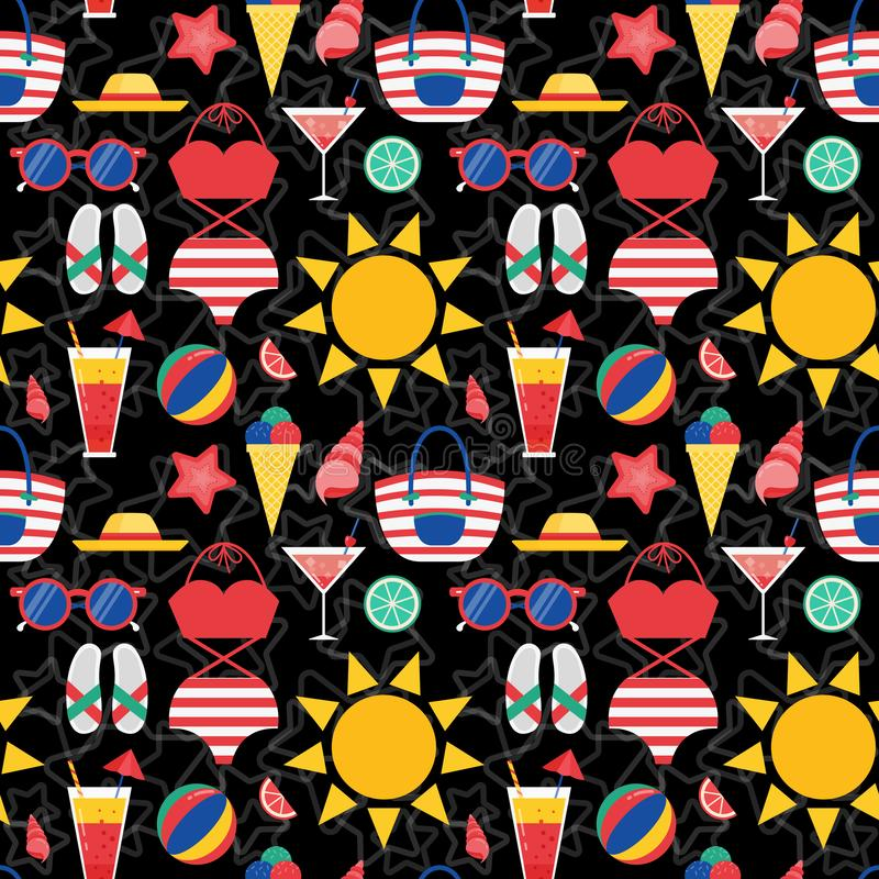 Sommer-Strand-Material-nahtloses Muster lizenzfreie abbildung