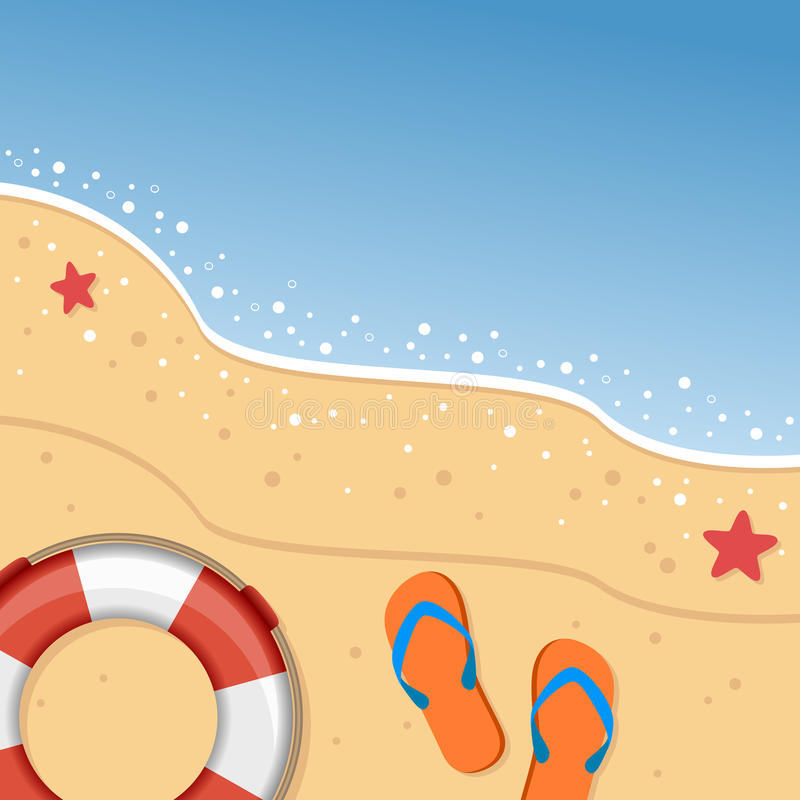 Sommer-Strand mit Flip Flops u. Rettungsring vektor abbildung