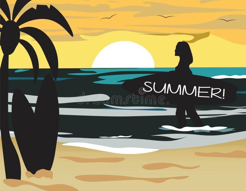 Sommer-Strand-Vektor mit Brandung vektor abbildung
