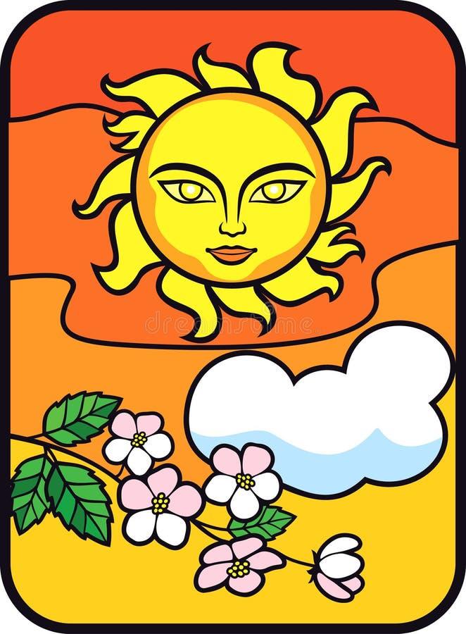 Sommer Sun bewölkt Blüten lizenzfreie abbildung