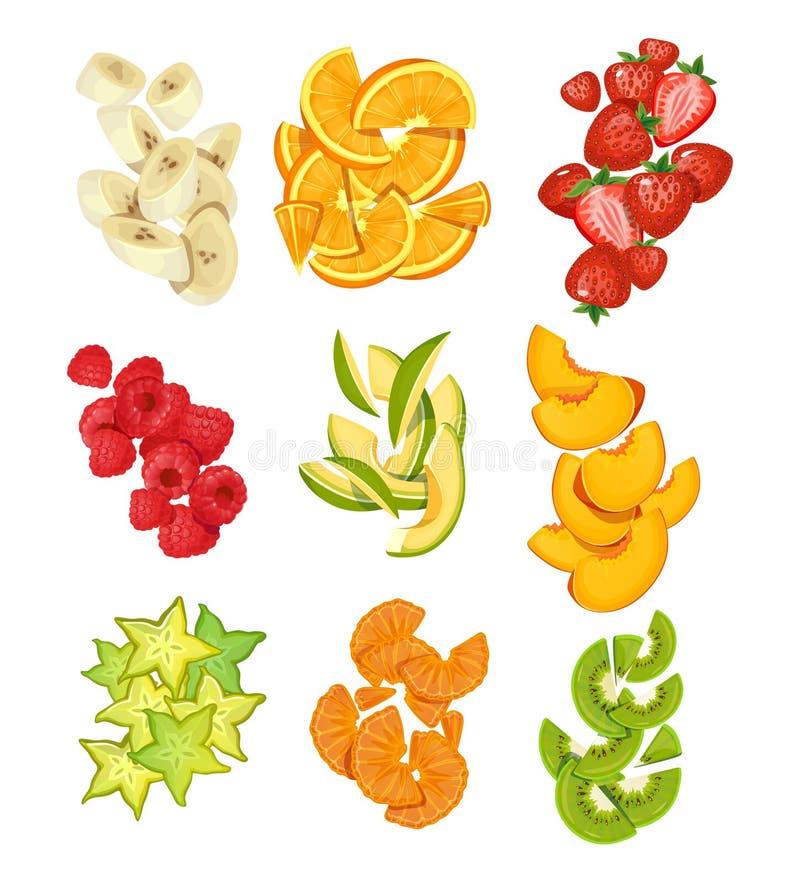 Sommer tr?gt Sammlung Fr?chte Bananen, Orangen, Mango, Erdbeeren, carambole, Kiwi usw. Geschnittene Sommerfrüchte lokalisiert auf stock abbildung