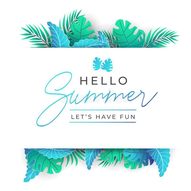Sommer-tropische Blätter entwerfen in der modischen Art mit Papiereffekt Vektorschablone für Partei, Grußkarte, Hochzeitseinladun vektor abbildung