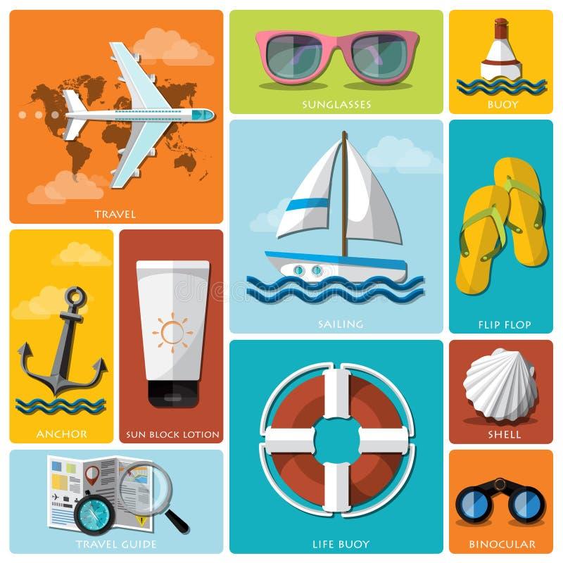 Sommer-und Reise-flacher Ikonen-Satz stock abbildung