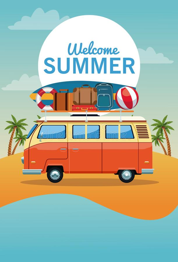 Sommer und Strandkarikatur stock abbildung