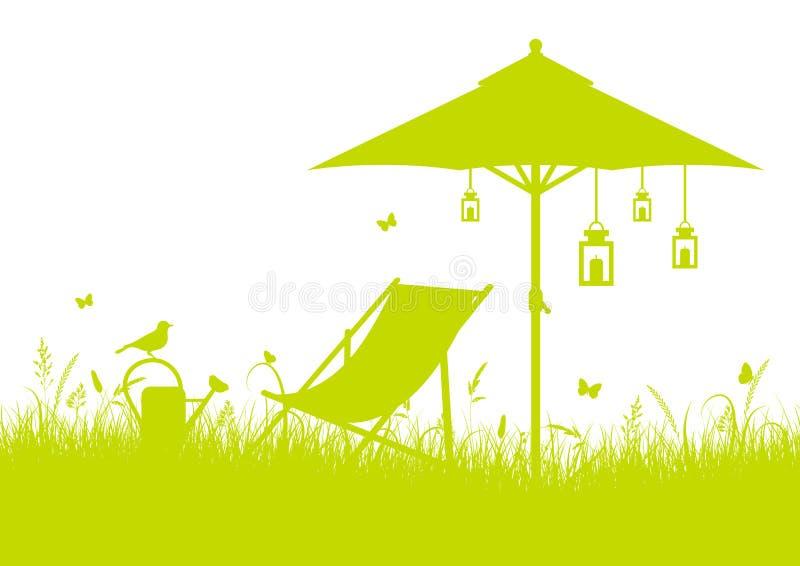 Sommer-Wiesen-Klappstuhl und Sonnenschirm hellgrün lizenzfreie abbildung