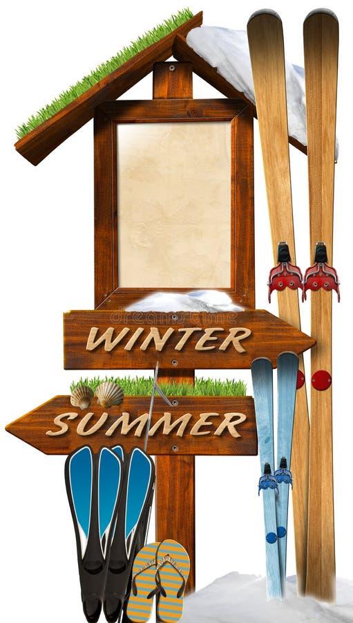 Sommer-Winter hölzerner Signage vektor abbildung
