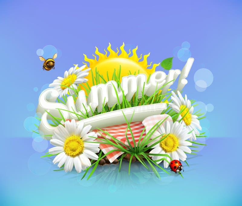 Sommer, Zeit für ein Picknick stock abbildung