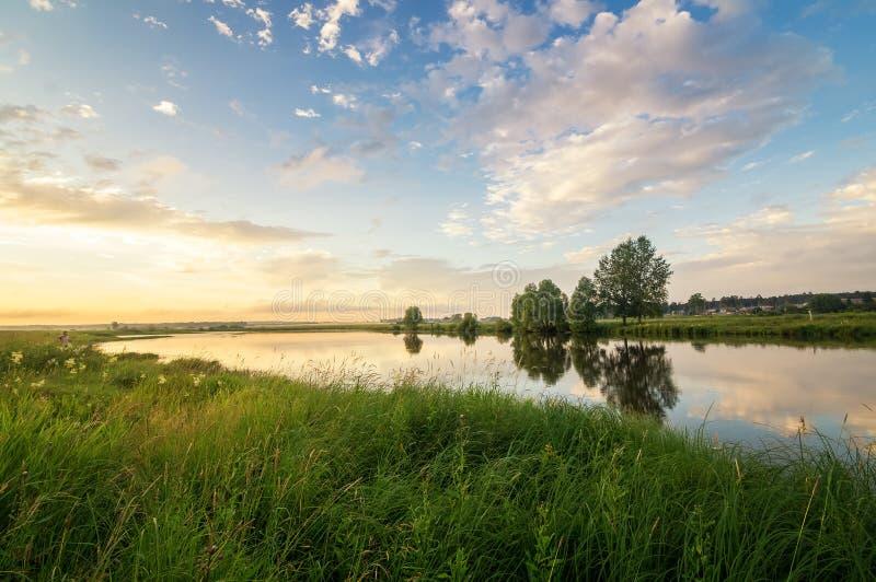 Sommerabendlandschaft auf dem Ural-Fluss mit Bäumen auf der Bank, Russland, Juni stockfoto
