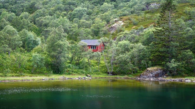 Sommeransicht eines roten Hauses in einem grünen Wald in den Bergen nahe einem See, Skandinavien Norwegen lizenzfreies stockbild