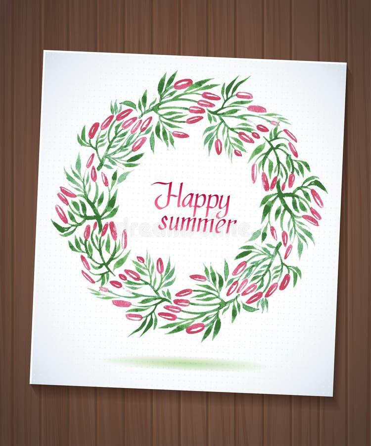 Sommeraquarell-Blumenkranz mit Papierblume lizenzfreie abbildung