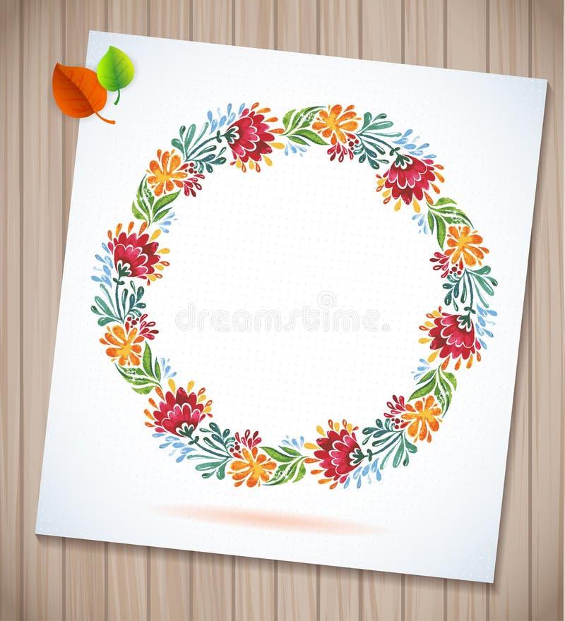 Sommeraquarell-Blumenkranz mit Papierblume auf hölzernem Planken Grußkartenhintergrund stock abbildung