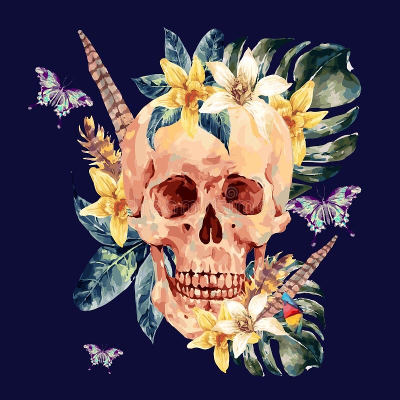 Sommeraquarell-Vektorschädel, tropische Blätter, Blumen stock abbildung