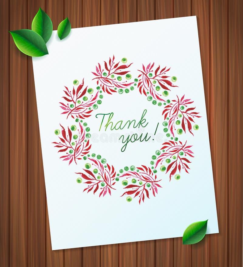 Sommeraquarellblumenkranz-Papierblume auf hölzernem Planken Grußkartenhintergrund lizenzfreie abbildung