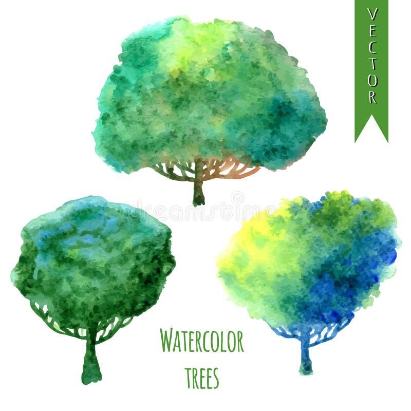 Sommerbäume Aquarellvektorsatz Bäume lizenzfreie abbildung