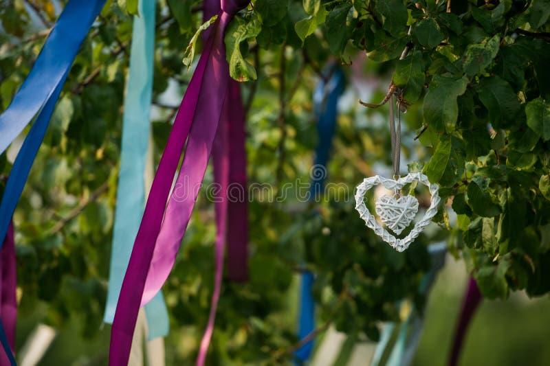 Sommerbaum in der blauen und violetten Blüte mit Hochzeitsdekoration - Bandherzen stockfoto