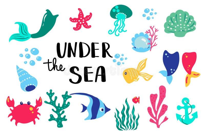 Sommerbeschriftung unter Meer Stellen Sie Hand gezeichnete Ikonen, Zeichen und Fahnen ein Helles Sommerzeitplakat Sammlungs-Somme stock abbildung