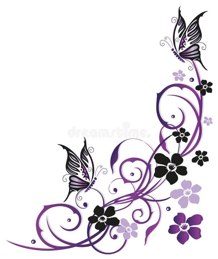 Sommerblumen mit Schmetterlingen lizenzfreie abbildung