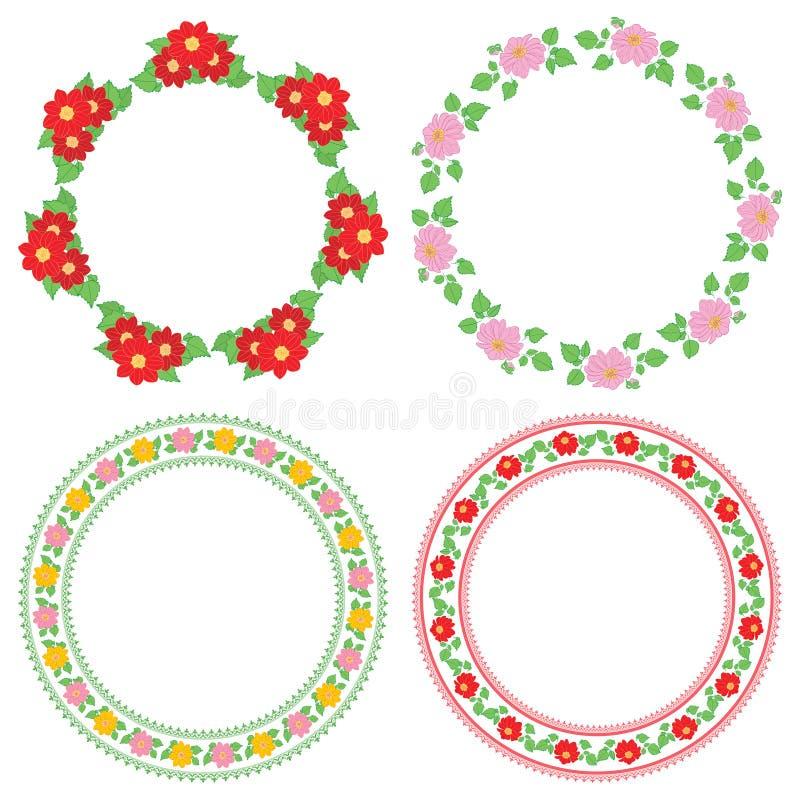 Sommerblumendahlie in den dekorativen Rahmen - runde Dekorationen des Vektors stock abbildung