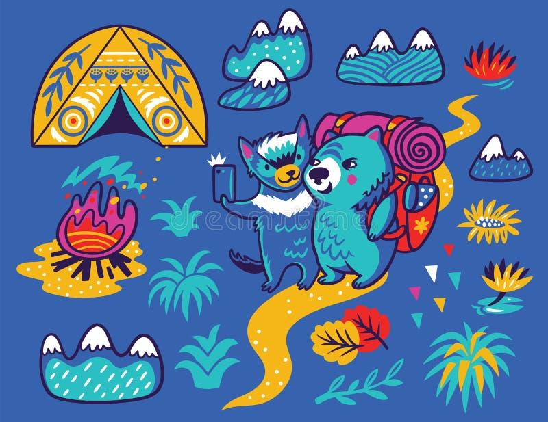 Sommerdruck mit nettem tasmanischem Teufel und dem Wombattouristen in der Karikaturart Auch im corel abgehobenen Betrag vektor abbildung