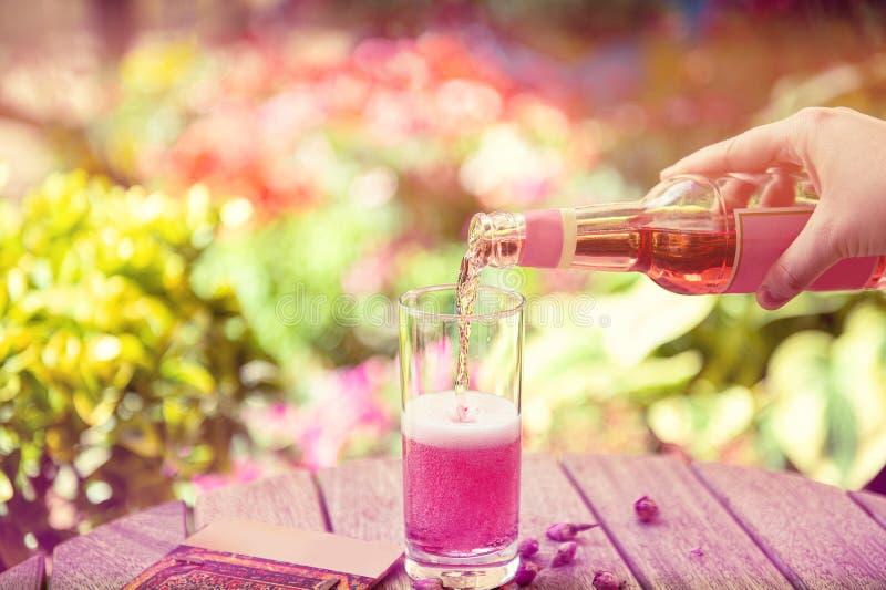 Sommererfrischungsgetr?nke Hellrosa rosafarbenes Cocktail lizenzfreie stockfotos