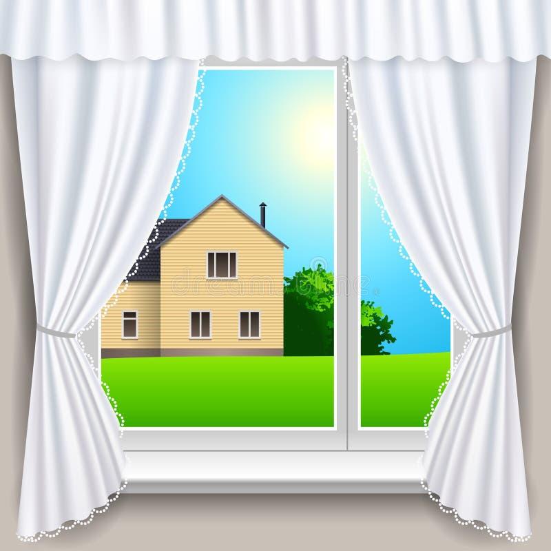 Sommerfenster lizenzfreie abbildung