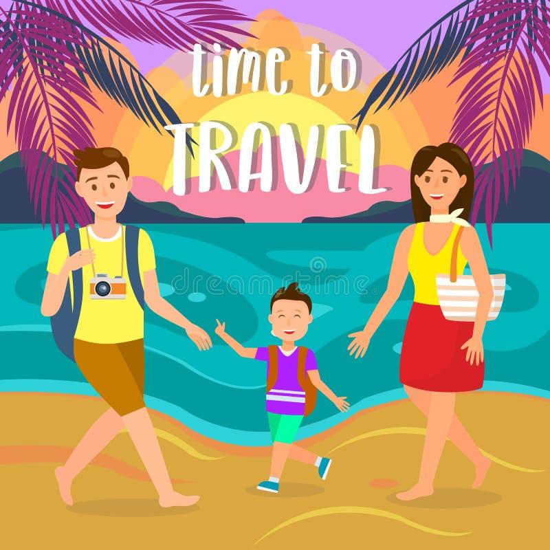 Sommerferien auf Seebad-Vektor-Postkarte lizenzfreie abbildung