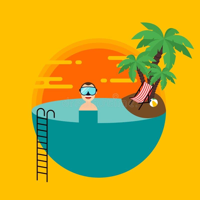 Sommerferien dekorativ mit flacher Entwurfsart der Sonnenuntergangstrandlandschaft lizenzfreie abbildung